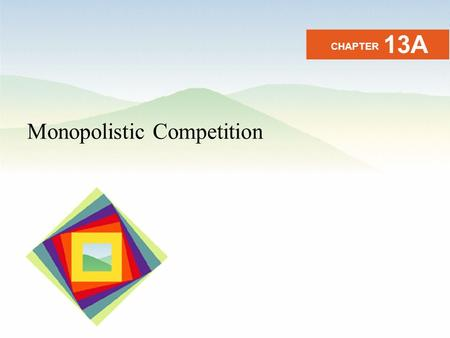 Monopolistic Competition CHAPTER 13A. After studying this chapter you will be able to Define and identify monopolistic competition Explain how output.