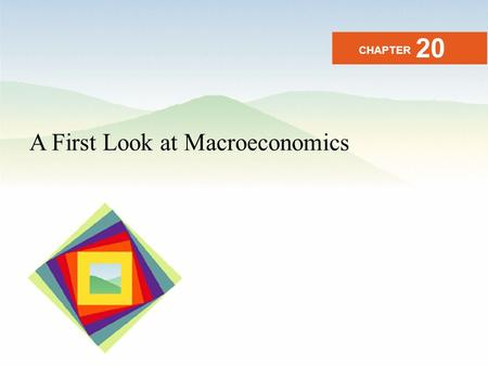 A First Look at Macroeconomics CHAPTER 20. After studying this chapter you will be able to Describe the origins and issues of macroeconomics Describe.