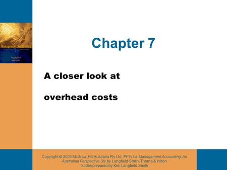 A closer look at overhead costs