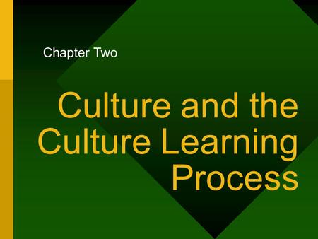 Culture and the Culture Learning Process Chapter Two.