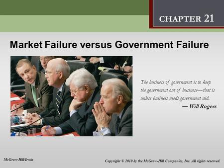 Market Failure versus Government Failure 21 Market Failure versus Government Failure The business of government is to keep the government out of businessthat.