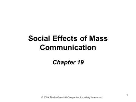 The Impact of Mass Communication Technology