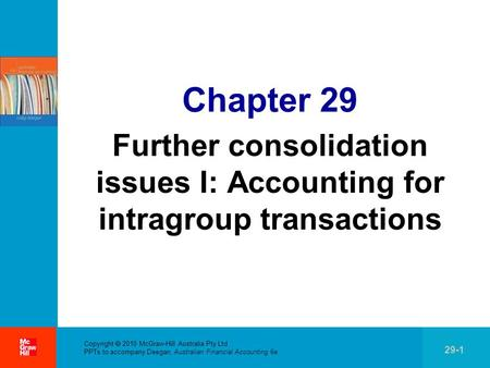 . Copyright 2010 McGraw-Hill Australia Pty Ltd PPTs to accompany Deegan, Australian Financial Accounting 6e 29-1 Chapter 29 Further consolidation issues.