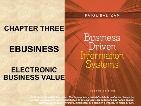 CHAPTER THREE EBUSINESS ELECTRONIC BUSINESS VALUE