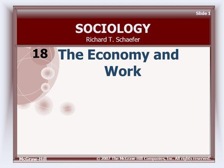 McGraw-Hill © 2007 The McGraw-Hill Companies, Inc. All rights reserved. Slide 1 SOCIOLOGY Richard T. Schaefer The Economy and Work 18.