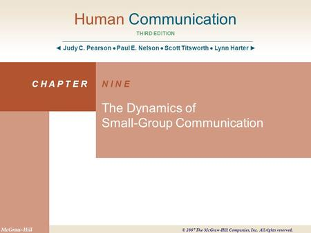 Chapter 9 Objectives Define small-group communication and state why it is important Recognize different types of groups Define leadership and explain its.