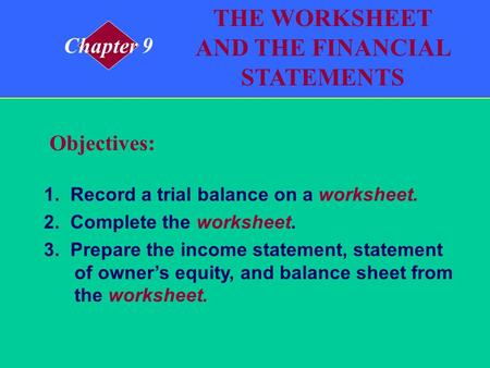 1. Record a trial balance on a worksheet. 2. Complete the worksheet. 3. Prepare the income statement, statement of owners equity, and balance sheet from.