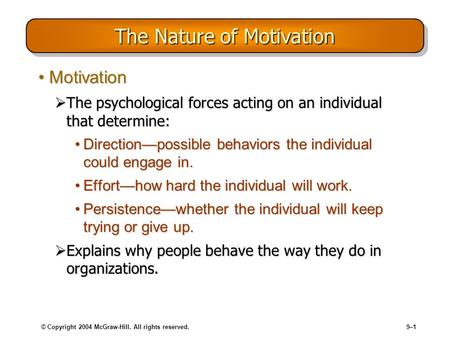 © Copyright 2004 McGraw-Hill. All rights reserved.9–1 The Nature of Motivation MotivationMotivation The psychological forces acting on an individual that.