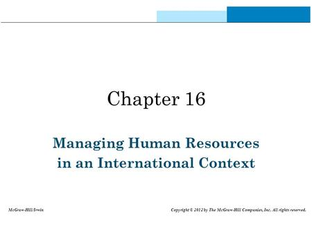 Managing Human Resources in an International Context