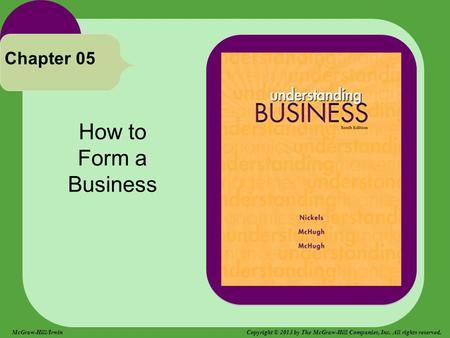 How to Form a Business Chapter 05 McGraw-Hill/Irwin Copyright © 2013 by The McGraw-Hill Companies, Inc. All rights reserved.