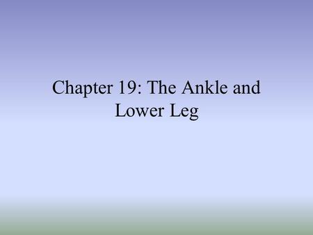 Chapter 19: The Ankle and Lower Leg.