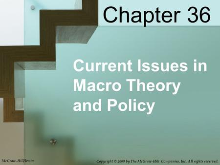 Current Issues in Macro Theory and Policy Chapter 36 Copyright © 2009 by The McGraw-Hill Companies, Inc. All rights reserved. McGraw-Hill/Irwin.