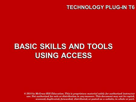 BASIC SKILLS AND TOOLS USING ACCESS