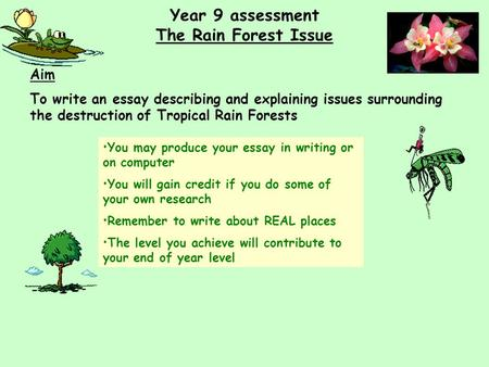 Year 9 assessment The Rain Forest Issue Aim To write an essay describing and explaining issues surrounding the destruction of Tropical Rain Forests You.