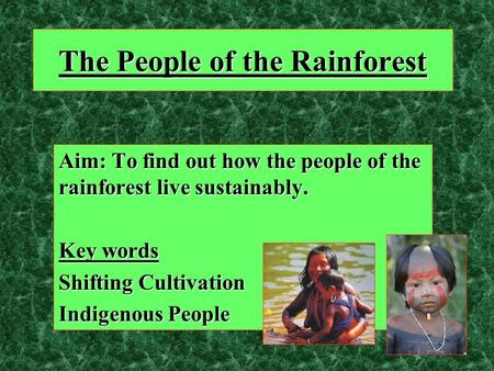 The People of the Rainforest Aim: To find out how the people of the rainforest live sustainably. Key words Shifting Cultivation Indigenous People.