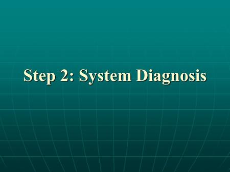 Step 2: System Diagnosis. Learning Objectives Define system and SWOT analysis Define system and SWOT analysis Participate in strategic planning teams.