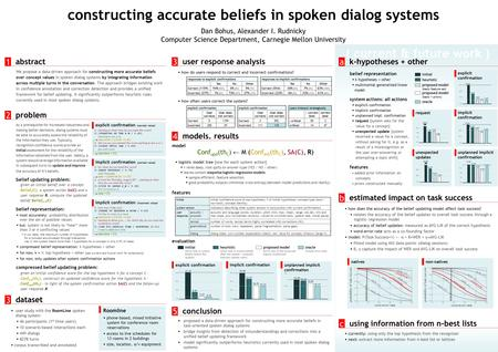( current & future work ) explicit confirmation implicit confirmation unplanned implicit confirmation request constructing accurate beliefs in spoken dialog.