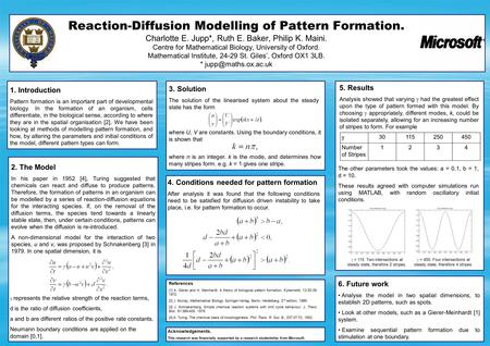 Reaction-Diffusion Modelling of Pattern Formation. Charlotte E. Jupp*, Ruth E. Baker, Philip K. Maini. Centre for Mathematical Biology, University of Oxford.