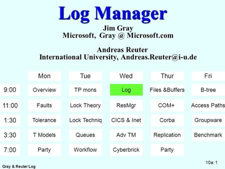 Gray & Reuter Log 10a: 1 Log Manager Jim Gray Microsoft, Microsoft.com Andreas Reuter International University, 9:00 11:00.