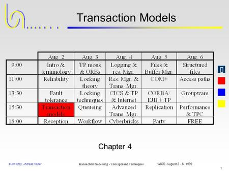© Jim Gray, Andreas Reuter Transaction Processing - Concepts and Techniques WICS August 2 - 6, 1999 1 Transaction Models Chapter 4.