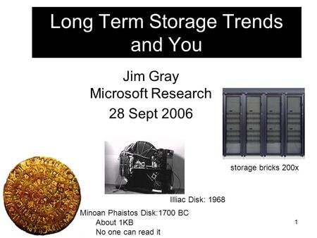 1 Long Term Storage Trends and You Jim Gray Microsoft Research 28 Sept 2006 Minoan Phaistos Disk:1700 BC About 1KB No one can read it Illiac Disk: 1968.