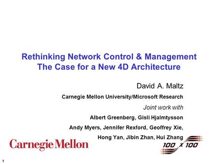 1 Rethinking Network Control & Management The Case for a New 4D Architecture David A. Maltz Carnegie Mellon University/Microsoft Research Joint work with.