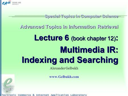 Special Topics in Computer Science Advanced Topics in Information Retrieval Lecture 6 (book chapter 12) : Multimedia IR: Indexing and Searching Alexander.