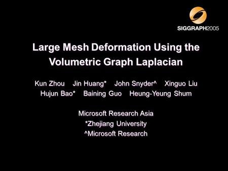 Large Mesh Deformation Using the Volumetric Graph Laplacian
