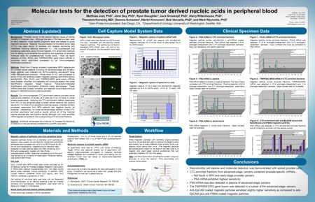 Molecular tests for the detection of prostate tumor derived nucleic acids in peripheral blood Matthias Jost, PhD 1, John Day, PhD 1, Ryan Slaughter 1,
