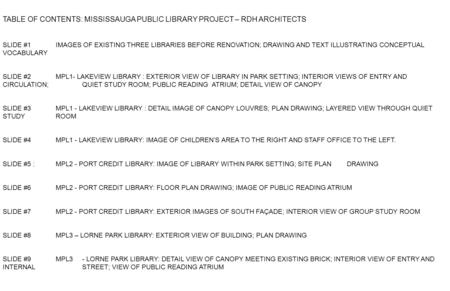TABLE OF CONTENTS: MISSISSAUGA PUBLIC LIBRARY PROJECT – RDH ARCHITECTS SLIDE #1 IMAGES OF EXISTING THREE LIBRARIES BEFORE RENOVATION; DRAWING AND TEXT.