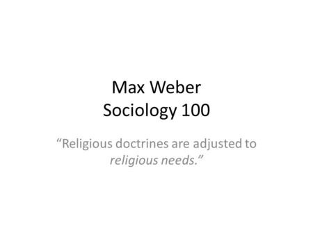 max weber sociology of religion pdf