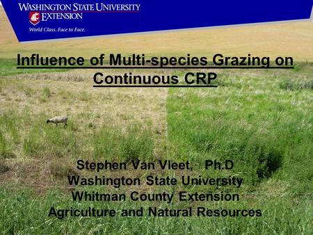 Stephen Van Vleet, Ph.D Washington State University Whitman County Extension Agriculture and Natural Resources Influence of Multi-species Grazing on Continuous.