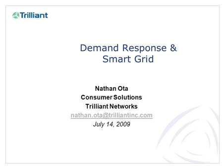 Demand Response & Smart Grid