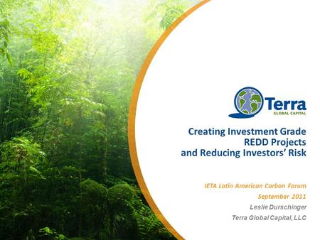 Creating Investment Grade REDD Projects and Reducing Investors Risk IETA Latin American Carbon Forum September 2011 Leslie Durschinger Terra Global Capital,