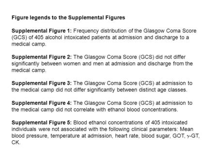 Figure legends to the Supplemental Figures Supplemental Figure 1: Frequency distribution of the Glasgow Coma Score (GCS) of 405 alcohol intoxicated patients.