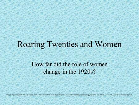 Roaring Twenties and Women