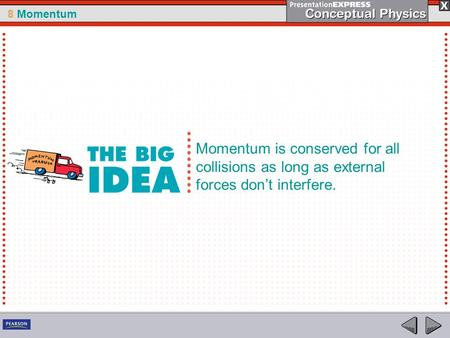 8 Momentum Momentum is conserved for all collisions as long as external forces dont interfere.