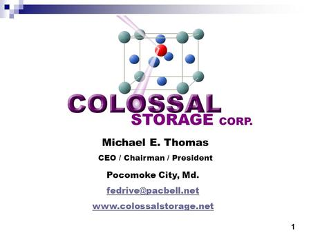 STORAGE CORP. Michael E. Thomas CEO / Chairman / President Pocomoke City, Md.  1.