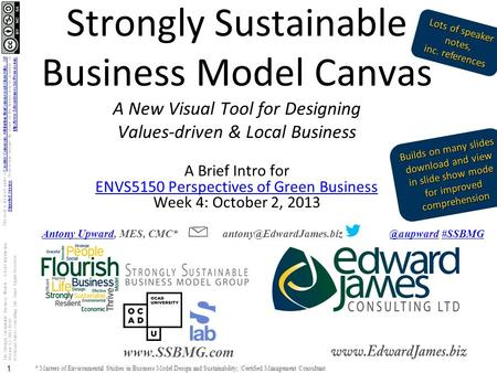 The Strongly Sustainable Business Models – A Brief Introduction Version 1.2 2013-10-02 © Edward James Consulting Ltd. Some Rights Reserved. 1 www.SSBMG.com.