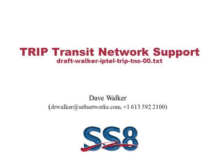 TRIP Transit Network Support draft-walker-iptel-trip-tns-00.txt Dave Walker ( +1 613 592 2100)