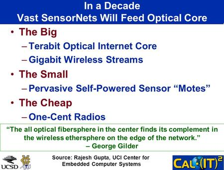 In a Decade Vast SensorNets Will Feed Optical Core The Big –Terabit Optical Internet Core –Gigabit Wireless Streams The Small –Pervasive Self-Powered Sensor.