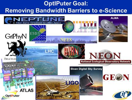 OptIPuter Goal: Removing Bandwidth Barriers to e-Science ATLAS Sloan Digital Sky Survey LHC ALMA.