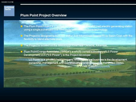 0 Case Study: Plum Point Energy Project Financing a Public Power Minority Investment in a Developer Sponsored Merchant Coal Plant Edward P. Meyers Goldman,