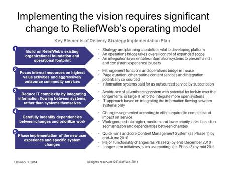 Implementing the vision requires significant change to ReliefWebs operating model February 1, 2014 All rights reserved © ReliefWeb 2011 1 Key Elements.