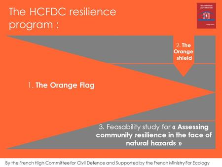 The HCFDC resilience program : 2. The Orange shield By the French High Committee for Civil Defence and Supported by the French Ministry For Ecology 1.
