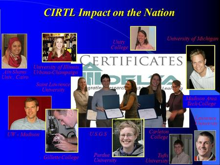 CIRTL Impact on the Nation University of Illinois Urbana-Champaign University of Michigan Carleton College Madison Area Tech College U.S.G.S Purdue University.