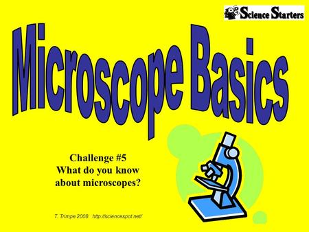 T. Trimpe 2008  Challenge #5 What do you know about microscopes?