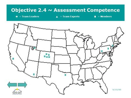 Objective 2.4 ~ Assessment Competence = Team Leaders = Team Experts= Members 6/15/05.