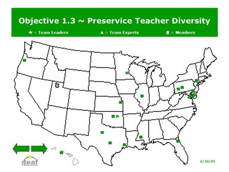 Objective 1.3 ~ Preservice Teacher Diversity = Team Leaders = Team Experts= Members 6/20/05.