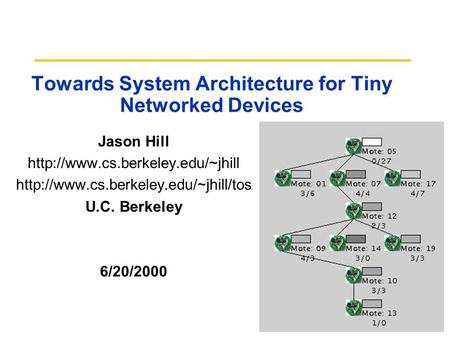 Towards System Architecture for Tiny Networked Devices Jason Hill   U.C. Berkeley.